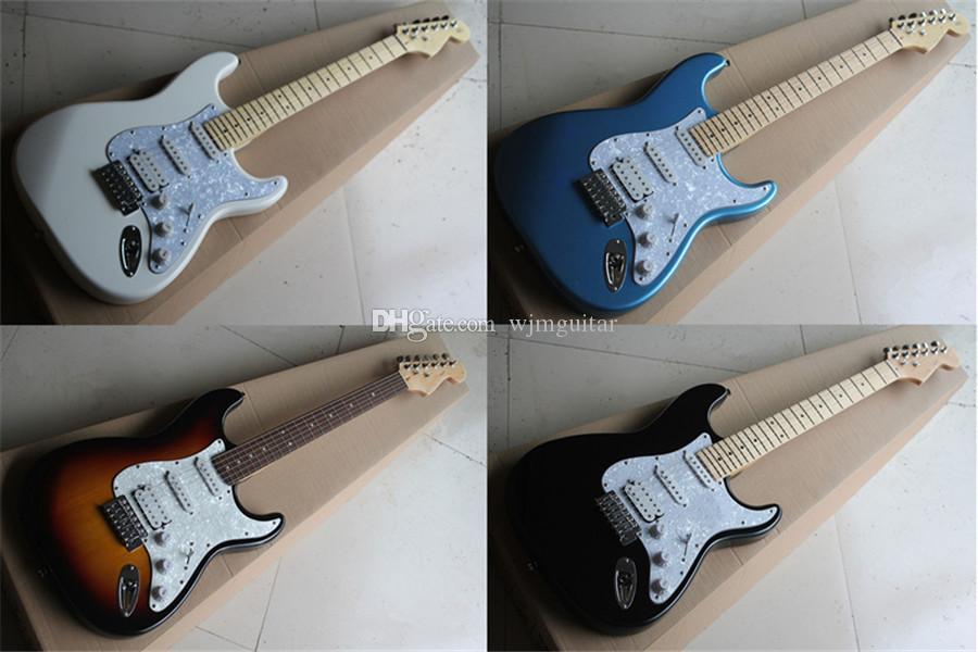 Бесплатная доставка белый черный синий солнечная гитара, 22 ладочка, SSH пикапы, тело для бассового дерева, клен палисандр, белый кирпанчик