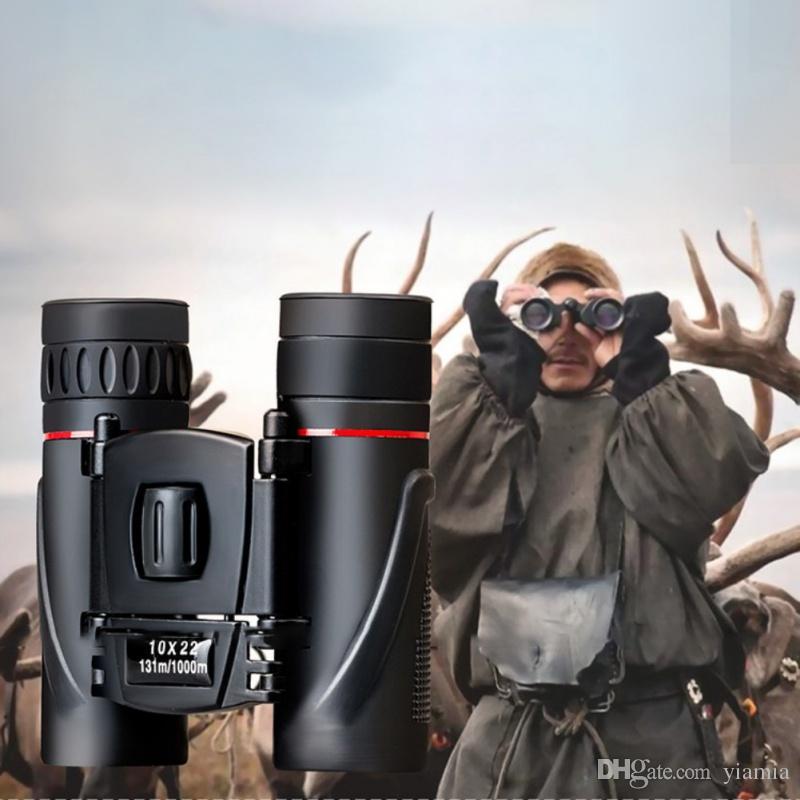 Compact Binoculars 10x22 Folding hunting tools Wide Angle High Powered Field Waterproof Outdoor Night Vision Telescope Pro