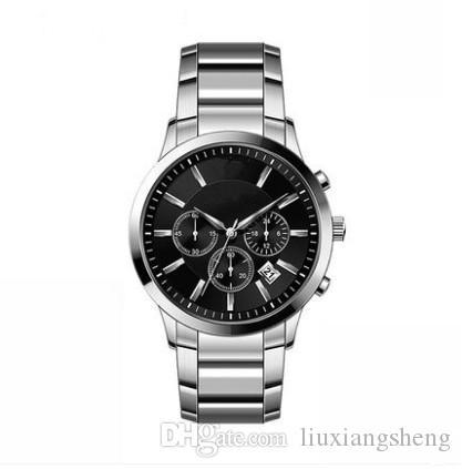 nova alta qualidade relógio de designer de moda de luxo negócio dos homens cronógrafo todo o trabalho à prova de água de aço inoxidável Homens Mens relógios AR2434 AR2448