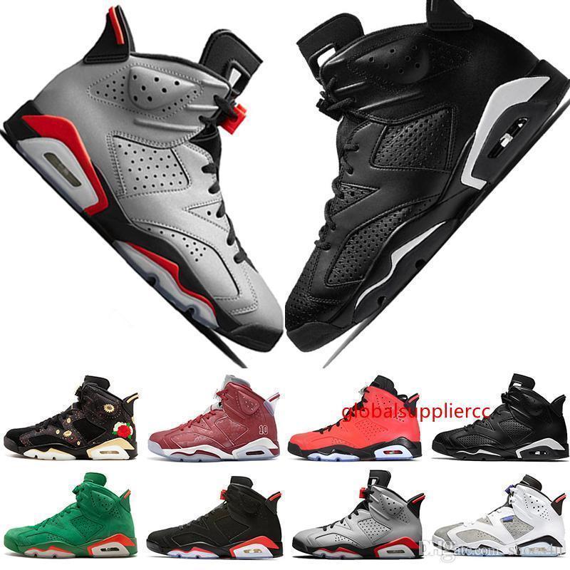 2019 caliente VI 6 6s zapatos de baloncesto del Mens Bred de infrarrojos 23 Errores 3M reflectantes conejito Tinker Negro Gato Flint hombres se divierten las zapatillas de deporte de diseño