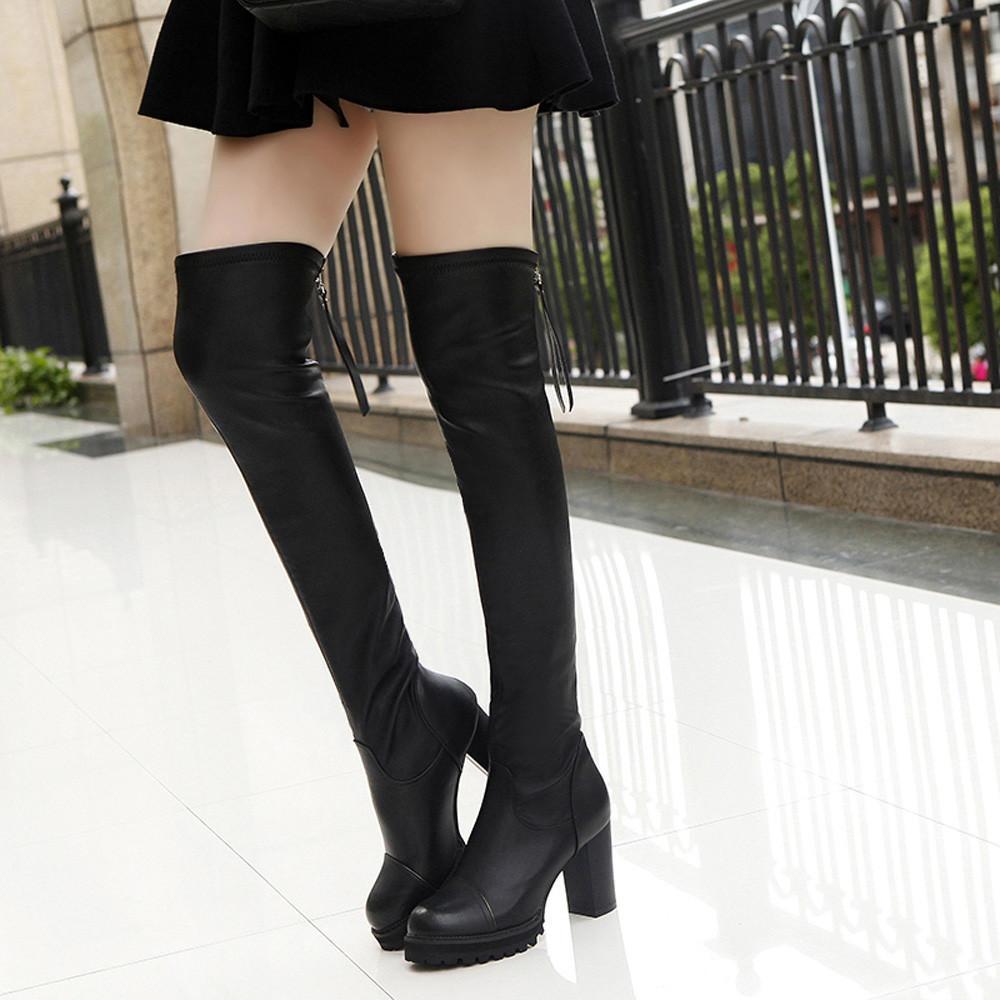Kış Çizmeler Kadın Moda Deri Diz Çizmeler Üzerinde Kadın Ayak Elastik Streç Kalın Topuk Kış Botas Mujer