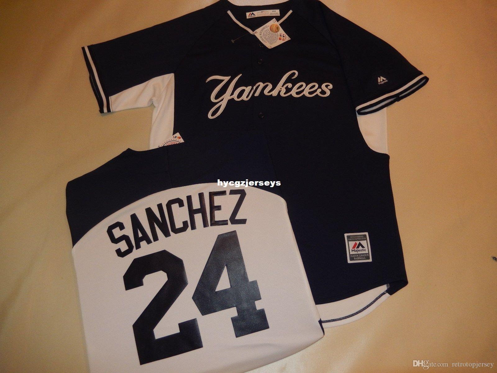 Günstige Baseball NY # 24 GARY SANCHEZ Shirt Jersey BLUE Herren genäht Trikots groß und hoch Größe XS-6XL Zum Verkauf