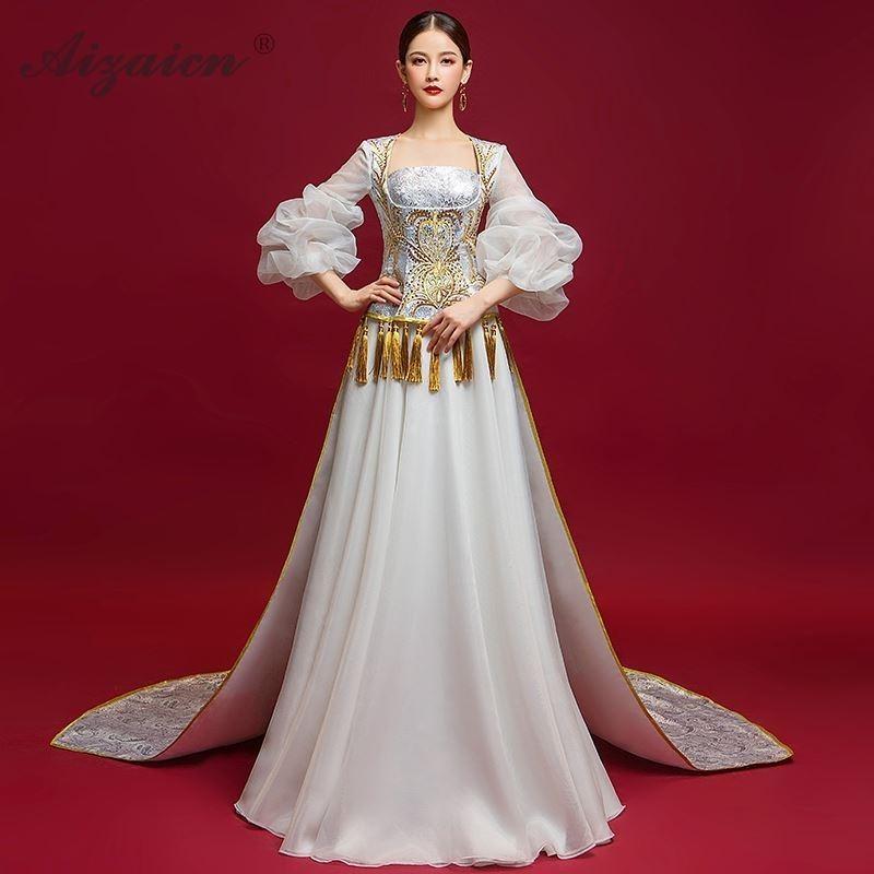 Neue Moderne Trailing Cheongsam Lange Kleider Chinoise Weiß Quaste Qi Pao Frauen Chinesischen Abendkleid Qipao Orientale Fashion Show