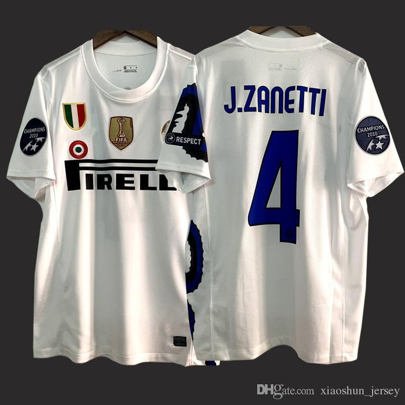 انتر ريترو لكرة القدم جيرسي 10 11 الزي الرسمي لكرة القدم خمر J.Zanetti شنايدر مايكون ميليتو قميص كرة القدم الكلاسيكي الأبيض