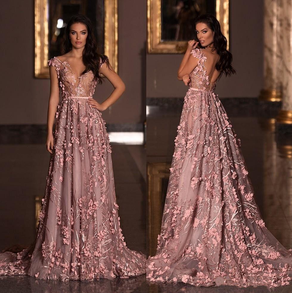 Berta 2020 heiße Verkaufs-Abschlussball-Kleid mit V-Ausschnitt 3D Appliqued formal Kleid plus Größe Sweep Zug Tüll Abendkleider
