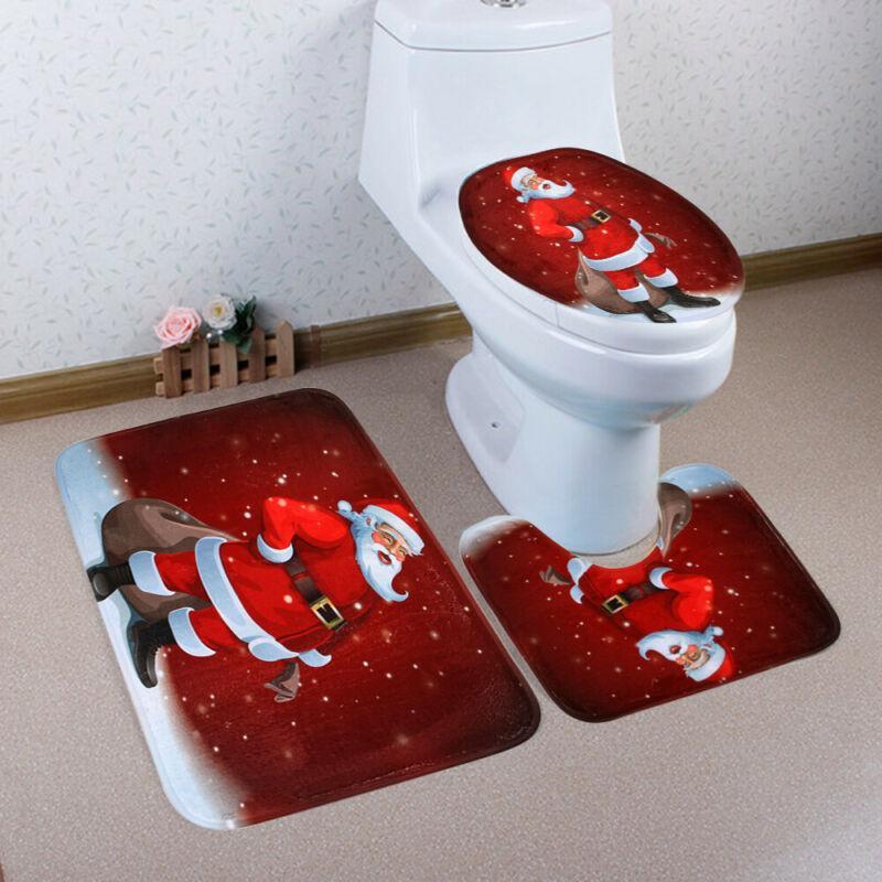 3PCS Set de Noël Décoration de Noël Père Noël de siège de toilette Tapis de bain Tapis meilleur cadeau nouveau