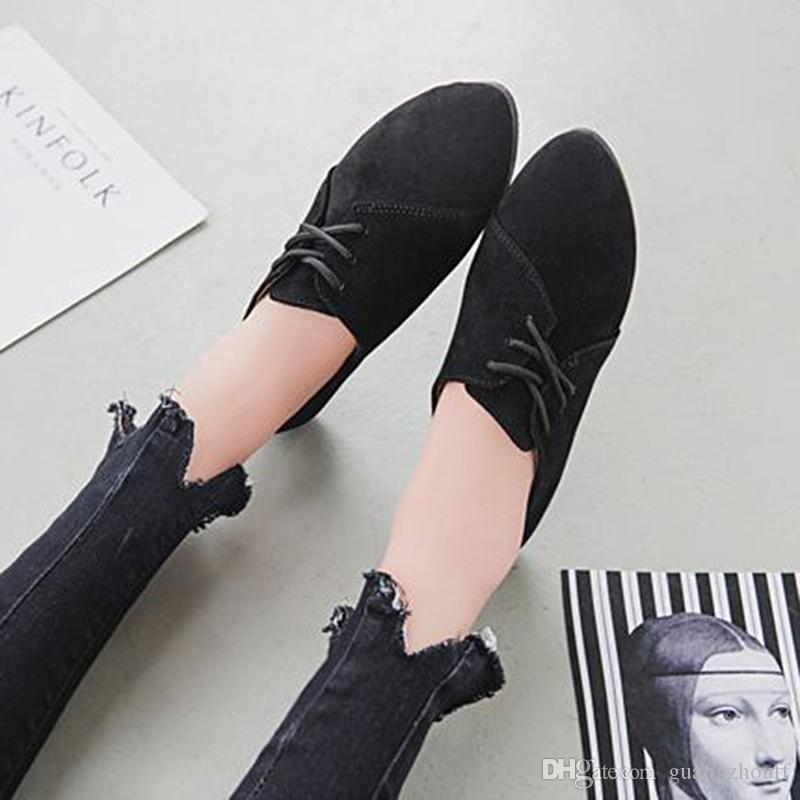 Fashion Women Fashion Flat Shoes Casual Shoes Solid Color Nubuck Leather Lace Up Round Toe