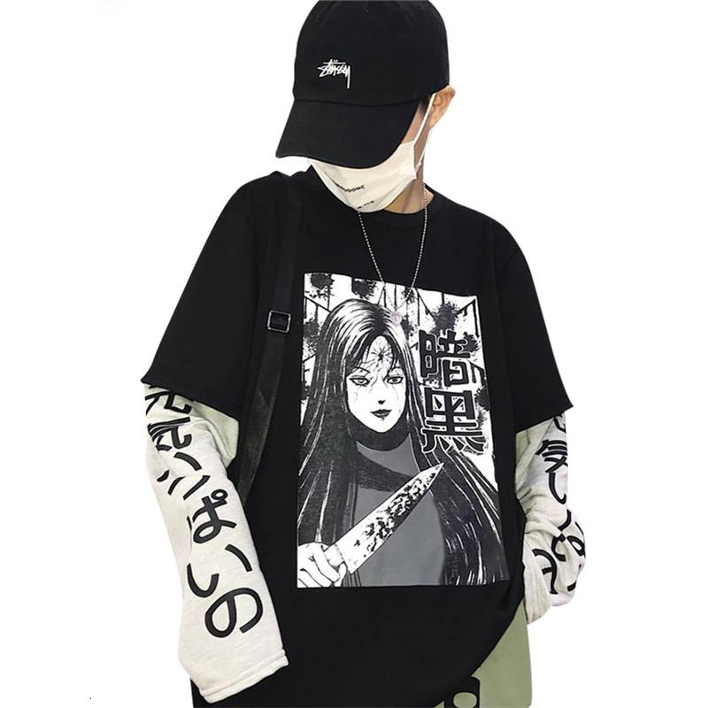 Women Designer Clothes Women Hoodie Harajuku Japanese Anime Women Sweatshirt Fake 2 Pieces O Neck Loose Female Sweatshirt Streetwear