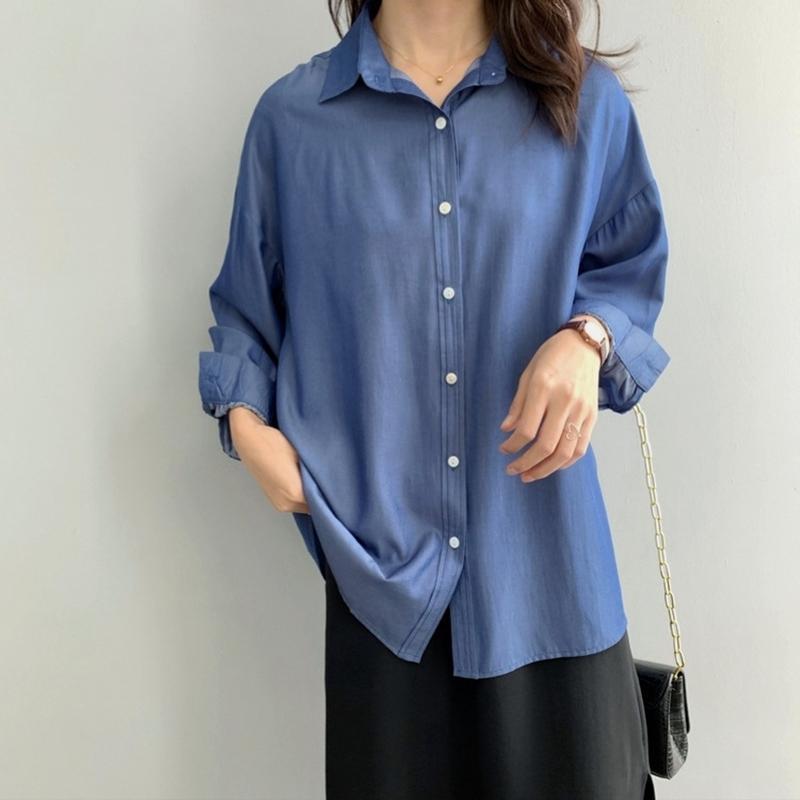 2020 Mulheres Primavera Outono Luxo manga comprida sólidos a granel Longo Casual Blusa botão de camisa para baixo Ladies Top
