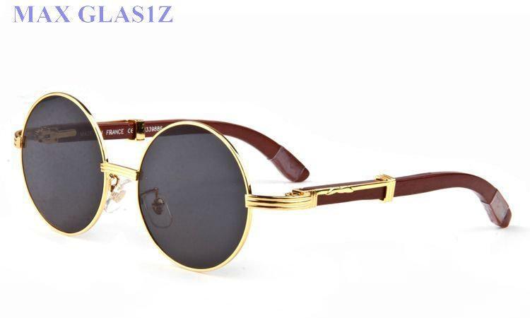 rotondo in legno designer del vetro sole sfumature di marca degli uomini all'ingrosso delle donne wrapeyeglasses occhiali full frame UV400 di alta qualità con boxGui