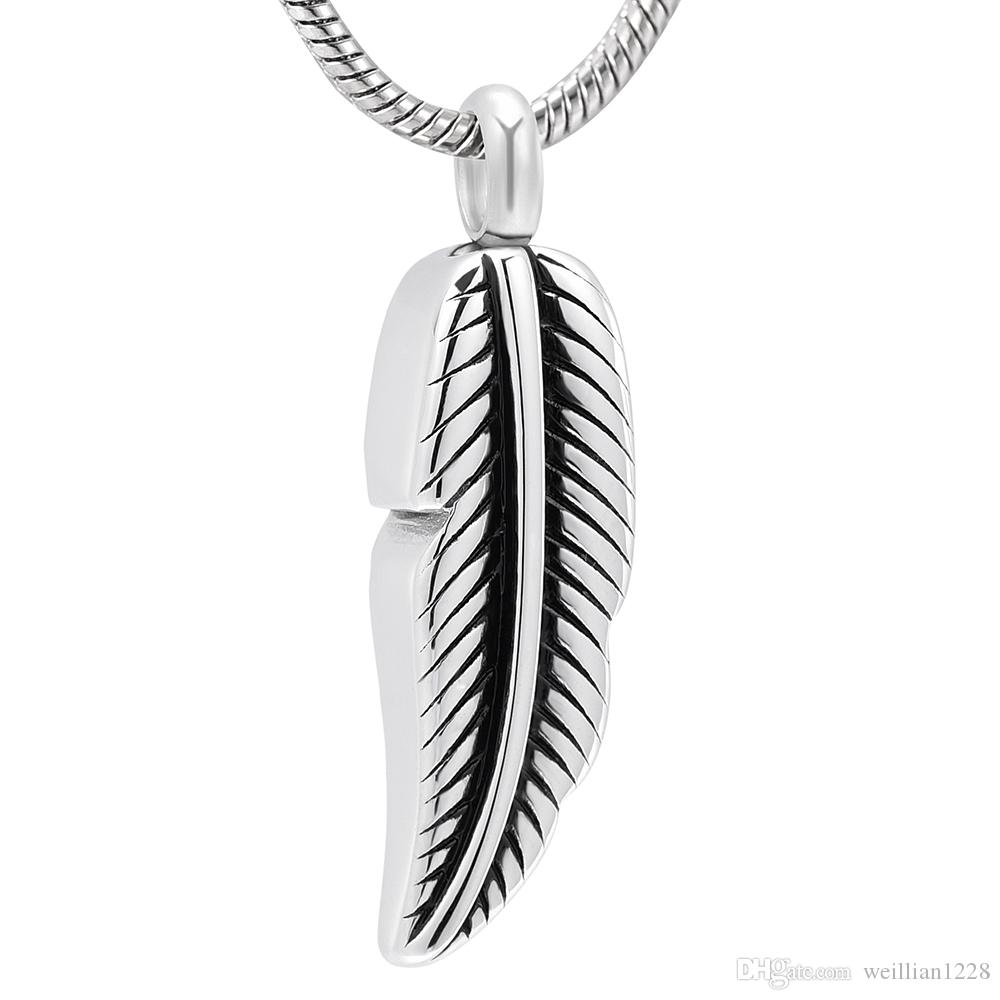 ZZL020 Feather Design Funeral Urn Ash Holder Keepsake Jewelry for Loved Ones Ashes Cheap Cremation Pendant Necklace