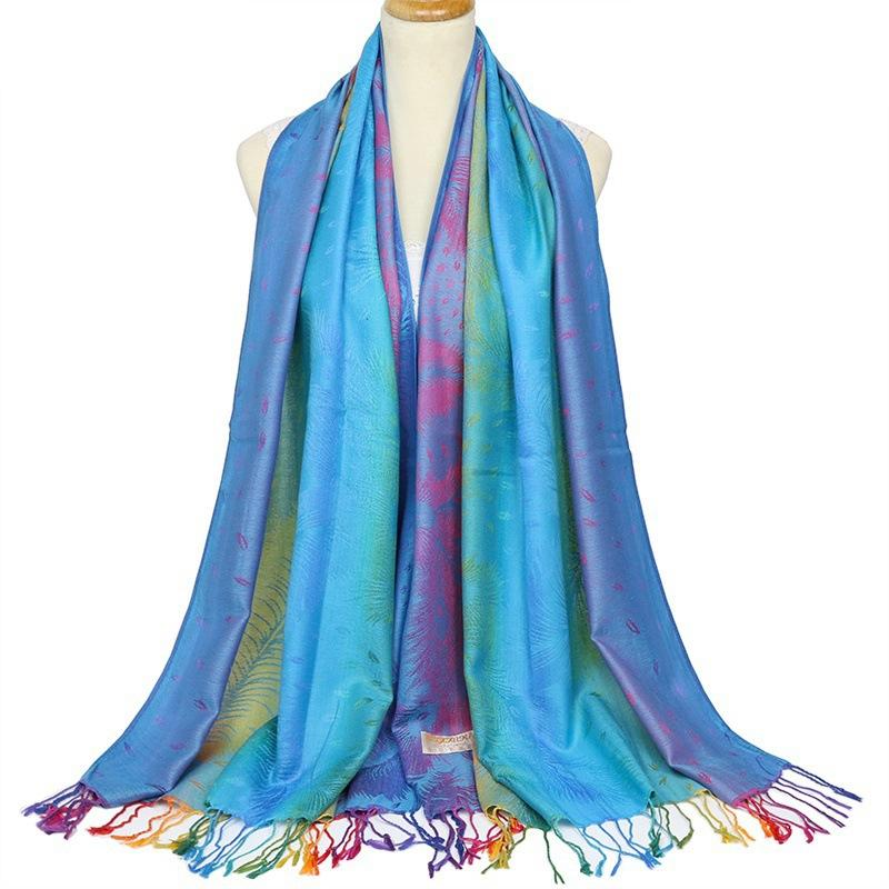 Retro Tassel Scarf Lady Cotton Twill Shawl Autumn Winter Gradient Color Warm Scarves Female jacquard Scarf And Wraps 5 color