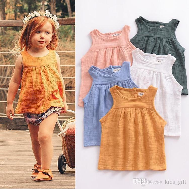 طفل بنات الصيف الاطفال ملابس 5 ألوان الكتان القطن أعلى خزان الوليد Baitie الصدرية بلايز الأطفال JY295 الملابس