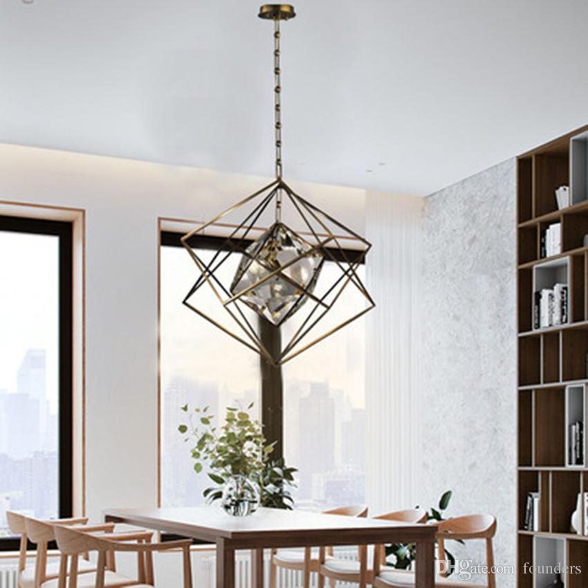 Nordic Crystal Cube Pendant Lights Lighting Modern LED Pendant Lamps Living Room Bedroom Restaurant Kitchen Fixtures Luminaire