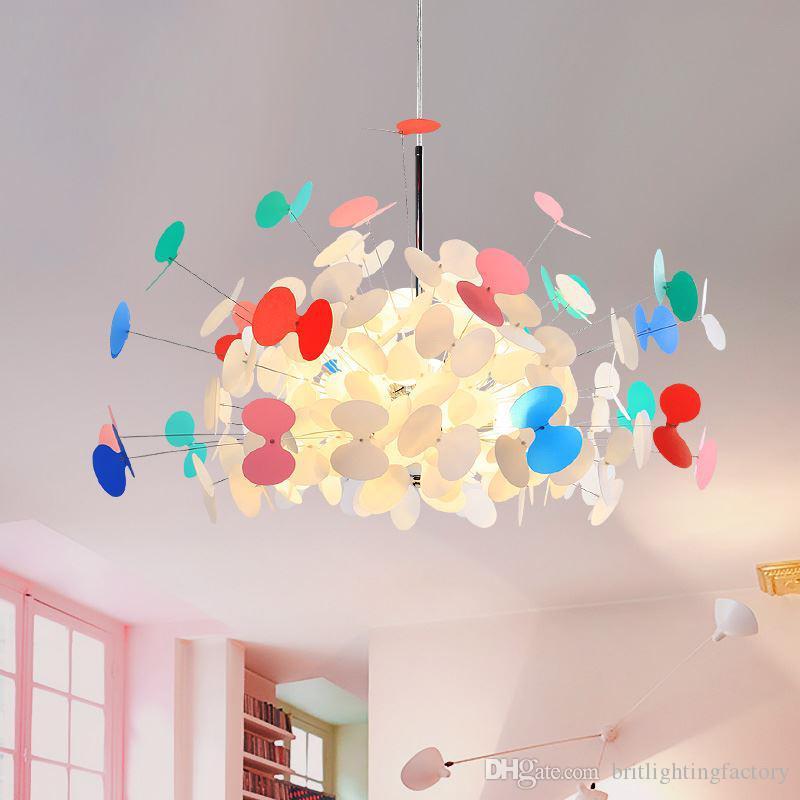 Yemek Odası Karikatür Kelebek Avize Yaratıcı Salon kolye Lambalar Kız Işık led avizeler Çocuk Sıcak Kişilik Yatak Odası açtı