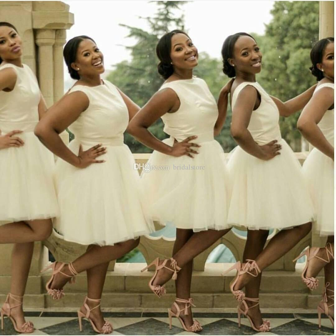 Best South Africa Short Bridesmaid Dresses Ivory Jewel Neckline Knee Length  Junior Bridesmaid Dress Plus Size Backless Cheap Prom Party Gown Dark ...
