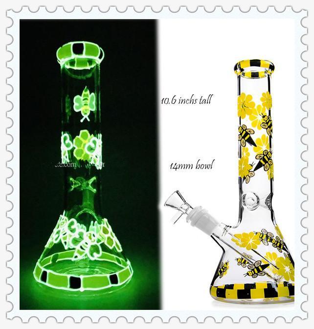 Желтый Пчелиный светлый стекло Бонг отражетеля СОТа проц bubbler стекло пьянящий DAB установок ледяной воды бонги кальяны со 14мм шар