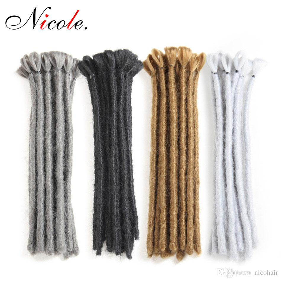 Nicole Dreads Handmade Dreadlocks Hair Extensions Nero 15-30CM Capelli Hip-Hop Style Dreadlock Extensions Treccia sintetico Hair For Man