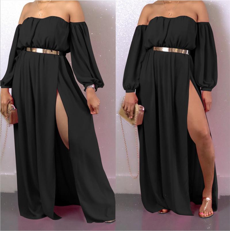 Праздник женщин типа конструктора платья Sexy Slash шейных Soli цвета платья с разъемной конструкции вскользь женщин шифоновое платье
