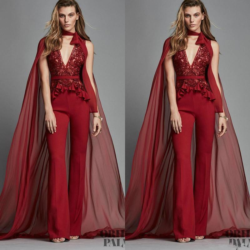 Red combis Robes de Cape Sexy V Neck Lace Pantalons robe de soirée Mode Zuhair Murad formelle Robes De Festa Vestido