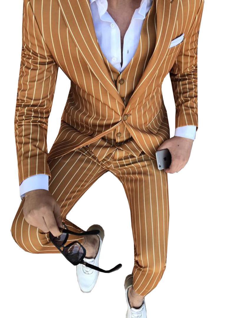 Mens Suits Striped Slim Fit 3 Piece Business Groom Jacket Tuxedos Blazer Navy Suits for Wedding Prom Evening(Blazer+Vest+Pants)