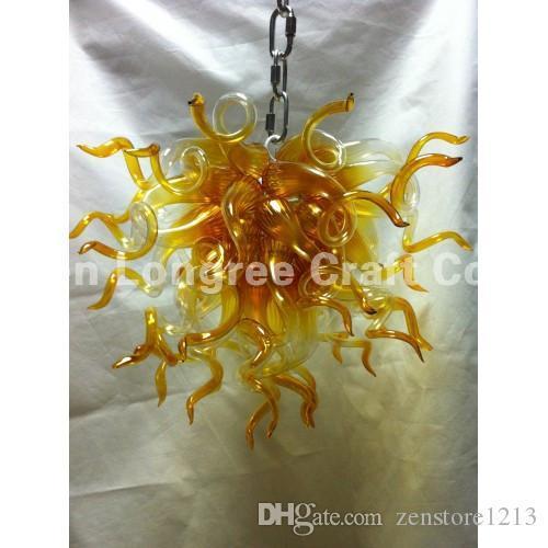 Hot Sale Hand Blown Glass Art Chandelier Light Amber Colored Glass LED Light Source House Decoration Modern Chandelier