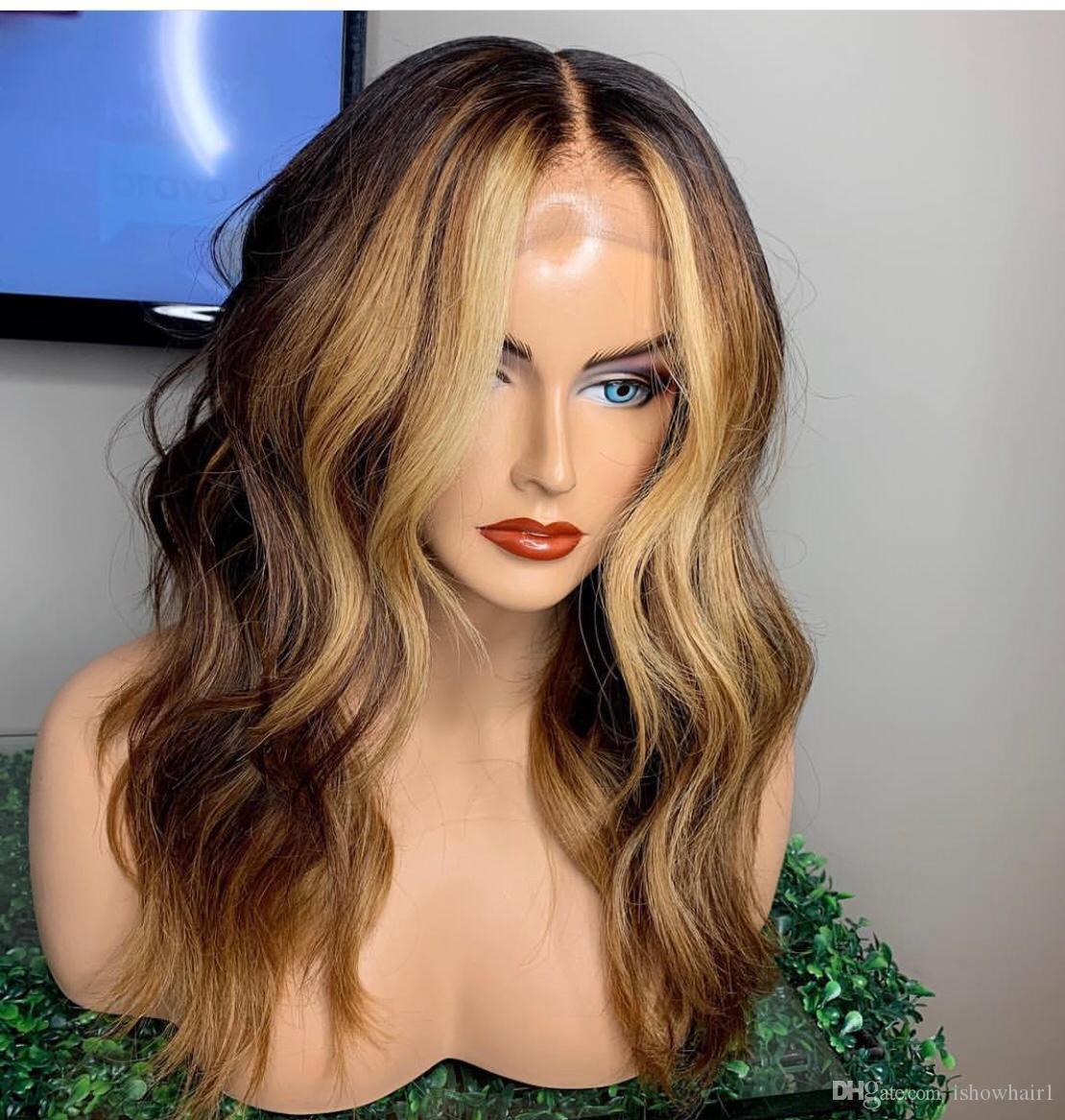 T1b / 27 dell'onda del corpo di merletto dei capelli umani parrucche 4 P 27 omber Colore merletto dei capelli umani parrucche anteriori Pre-pizzico parrucca del merletto 360