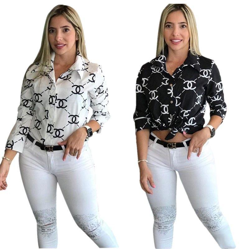 Navio livre 2.019 New Mulheres Letter Moda Collar Shirt Print Ligue-Down Casual manga comprida Magro shirt Tops XXL