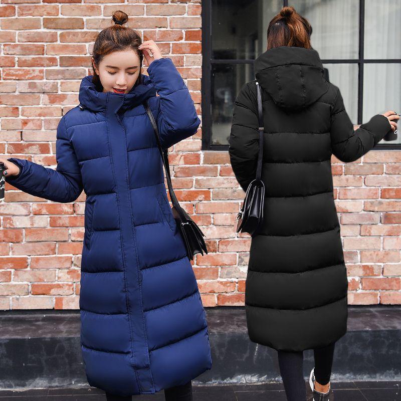 Плюс размер 3XL пуховики 2019 Мода зимы женщин пальто Длинные Тонкий сгущает теплая куртка вниз хлопка ватник Outwear ветровки CJ191213