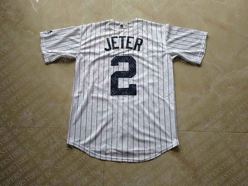 100% del ricamo numero personalizzato Derek Jeter JERSWY MENS PINSTRIPE maglie cucita Personalizza qualsiasi nome NCAA JERSEY