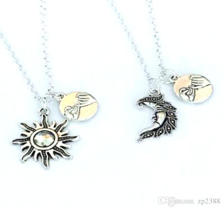 20pcs BFF Sun&Moon Necklace Pendant Hand In Hand Pinky Swear Promise Best Friends Couple Choker Friendship Necklaces For Women Jewelry New