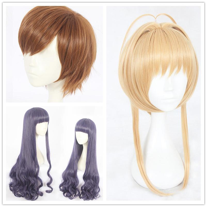 Anime Costumes Card Captor Kinomoto Sakura Blonde Parrucca Mens Li Syaoran Cosplay Brown Tomoyo Daidouji Capelli viola Tsukishiro Yukito