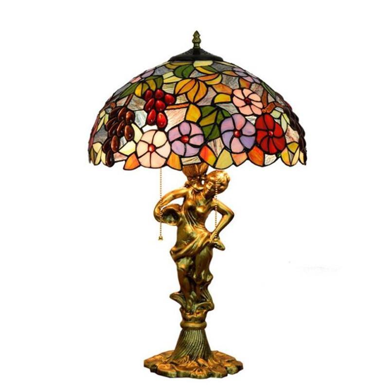 Amerikanische pastorale Hotelzimmer Nachttischlampe Tiffany Glasmalerei Studie Tischlampe Europäische Café Art und Weise Retro- Lampe TF038