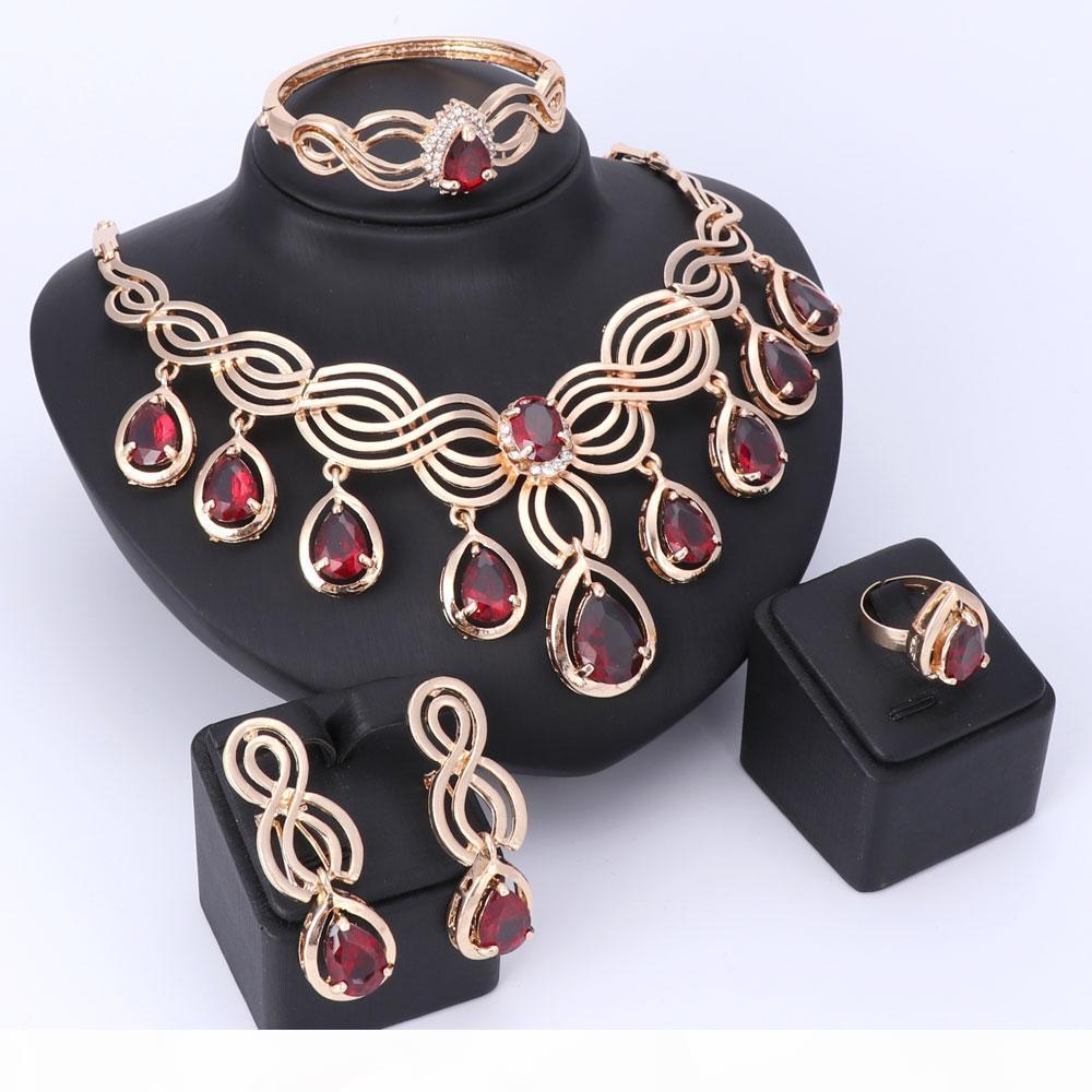 Placcato cristallo di collana Big nigeriani Beads Wedding I monili africani Top Squisito Dubai nappa gemma incastonata gioielli di lusso