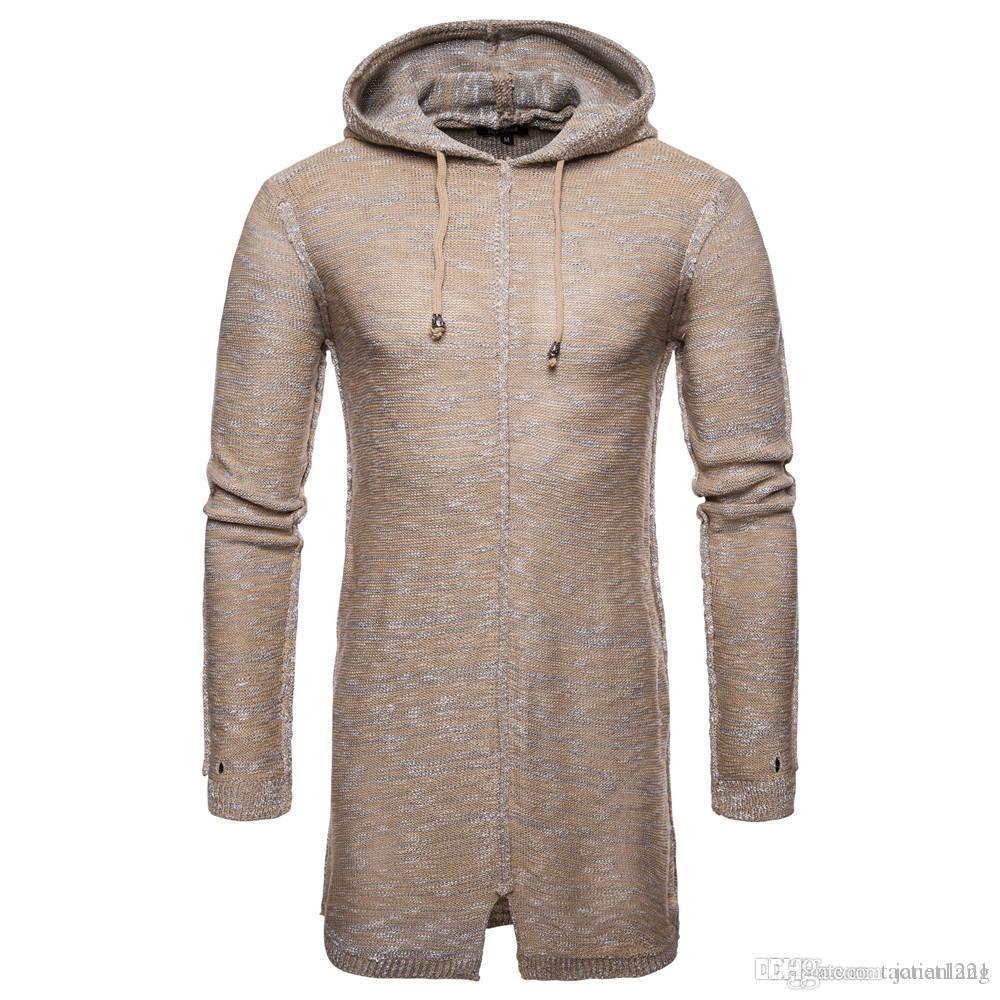 Свободного покроя толстый зимний мужской свитер средний длинная мужчины с капюшоном свитер пальто куртки твердые мода тонкий Fit шить пуловер мужчины трикотаж J18121