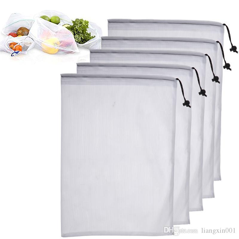 5pcs Premium Reusable Grocery Bags Eco Friendly Mesh Bags Washing Bags with Drawstring for Fruit and Vegetable Home Kitchen storage
