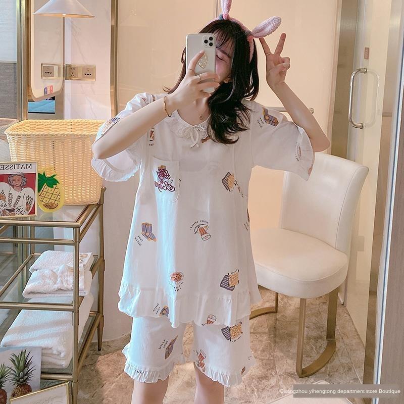 Ay yaz pamuk ince doğum sonrası pijama kısa kollu Ev giysi hemşirelik hamile kıyafetleri hamile hamilelik ev analık elbise uyacak