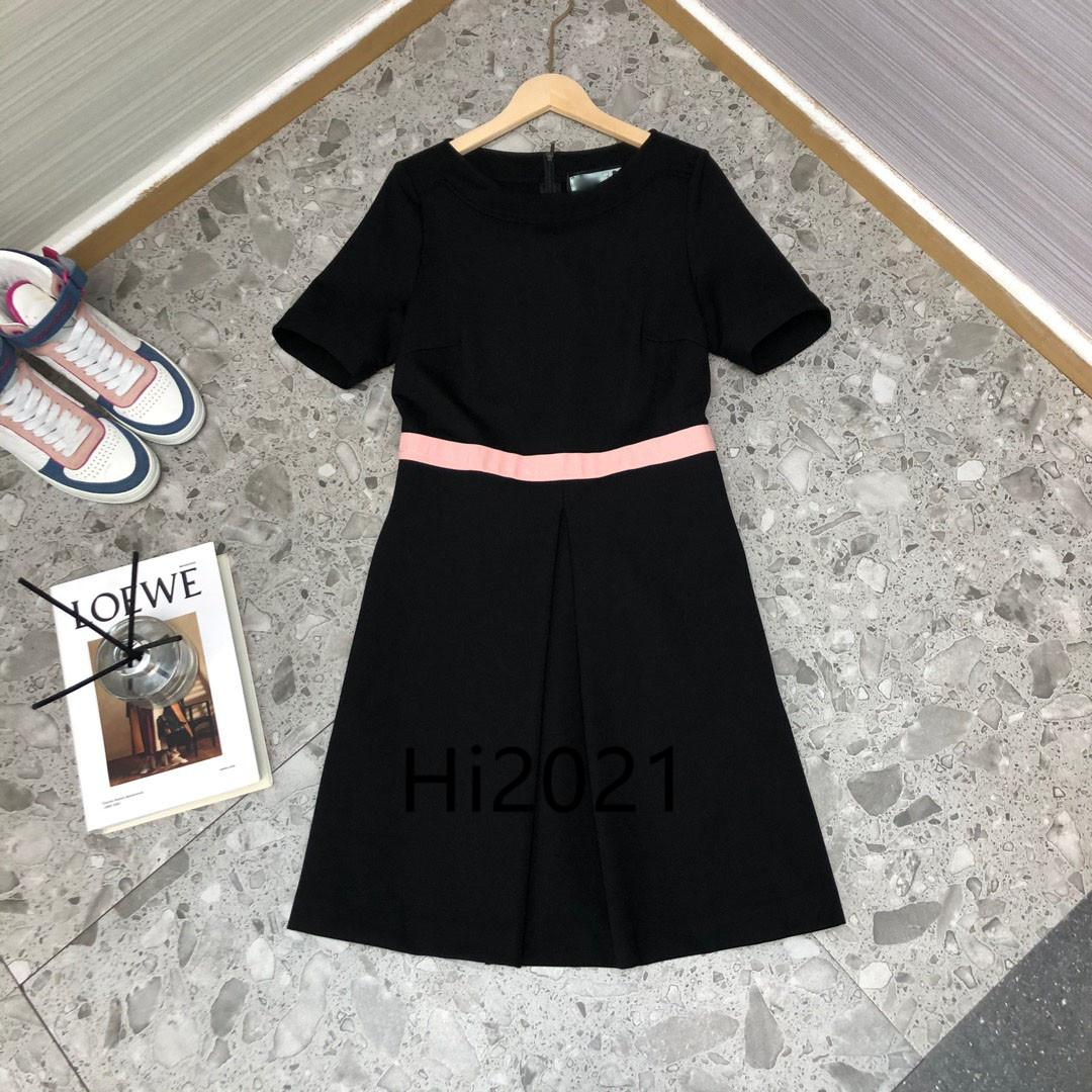 high end women's girls casual shirt dress letter sashes crew neck short sleeve splice skirt 2020 fashion luxury design loose a line dresses
