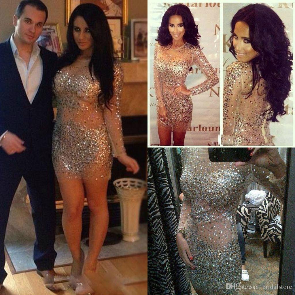 Kim Kardashian Vestidos Cristais Curto Vestidos de Baile Com Mangas Compridas Ver Embora Sheer Neck Bling Bling Strass Bainha Cocktail Party Vestidos