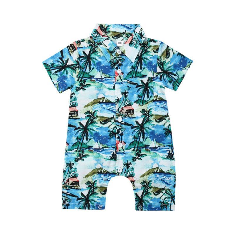 2019 caliente recién nacidos los bebés mameluco de la manga del mono de los pantalones cortos de Hawaii ropa larga Equipos