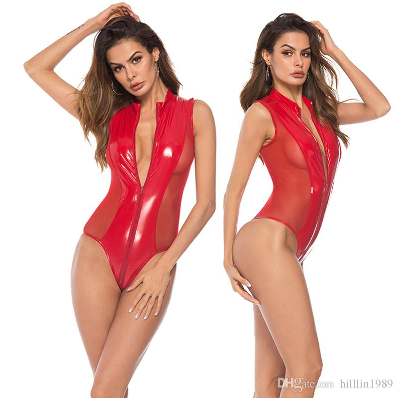 Patent Leather Fetish Onesies Sexy Women Sleepwear Plus Size Mesh Panelled Lifting Hips Bodysuit PVC Erotic Valentine Teddies Lingerie