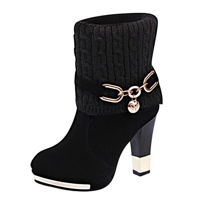 SAILING LU High Heels 2019 Rote Stiefel Damen Winter Baumwolle Stiefel WorkSafety Schuhe Frau Schnalle Riemenpumpen Mujer Booten XWX6983