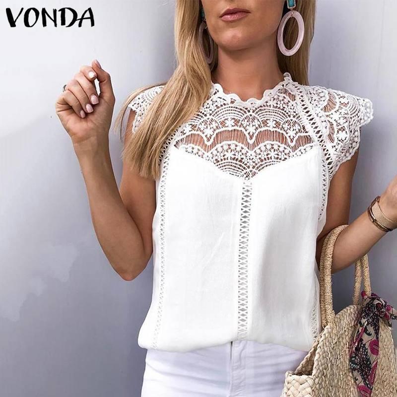 VONDA 2019 женская блузка туника Сексуальная без рукавов кружевная рубашка офисная женская рубашка полые вечерние топы Camisas Белый Blusas плюс размер