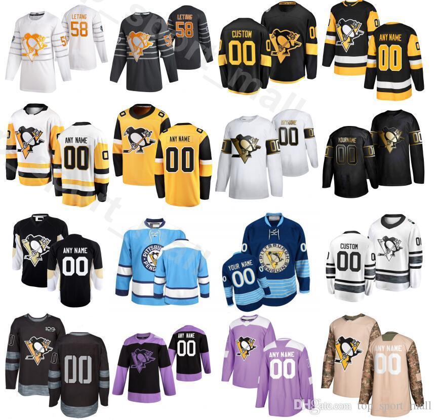 Personalizado Pittsburgh Penguins 2020 Lutas Câncer 24 Dominik Kahun Jersey Homens Gelo Hóquei 6 John Marino 13 Brandon Tanev 12 Dominik Simon