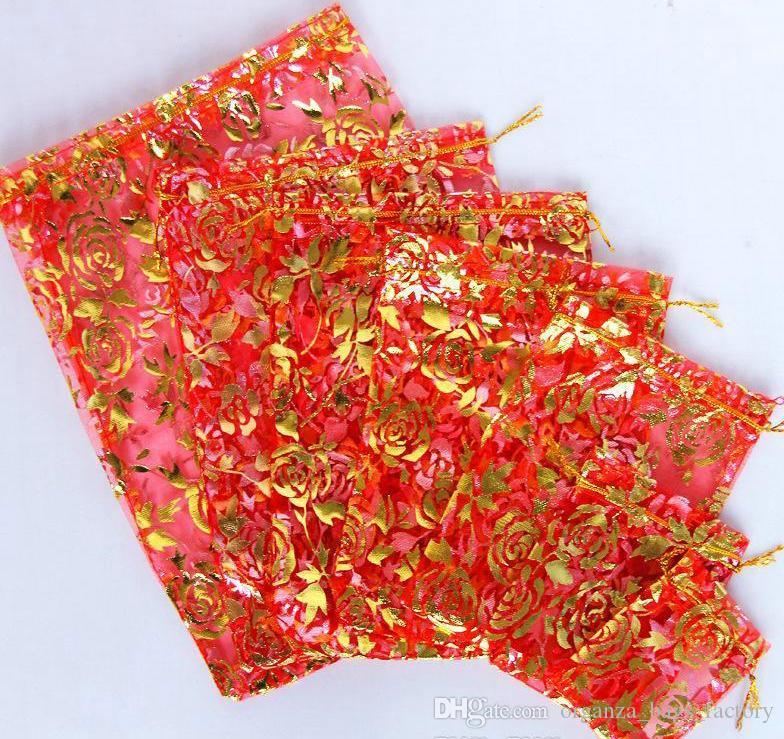 Rosa vermelha 4 tamanhos organza jóias bolsa de presente cordão sacos de doces saco quente vender