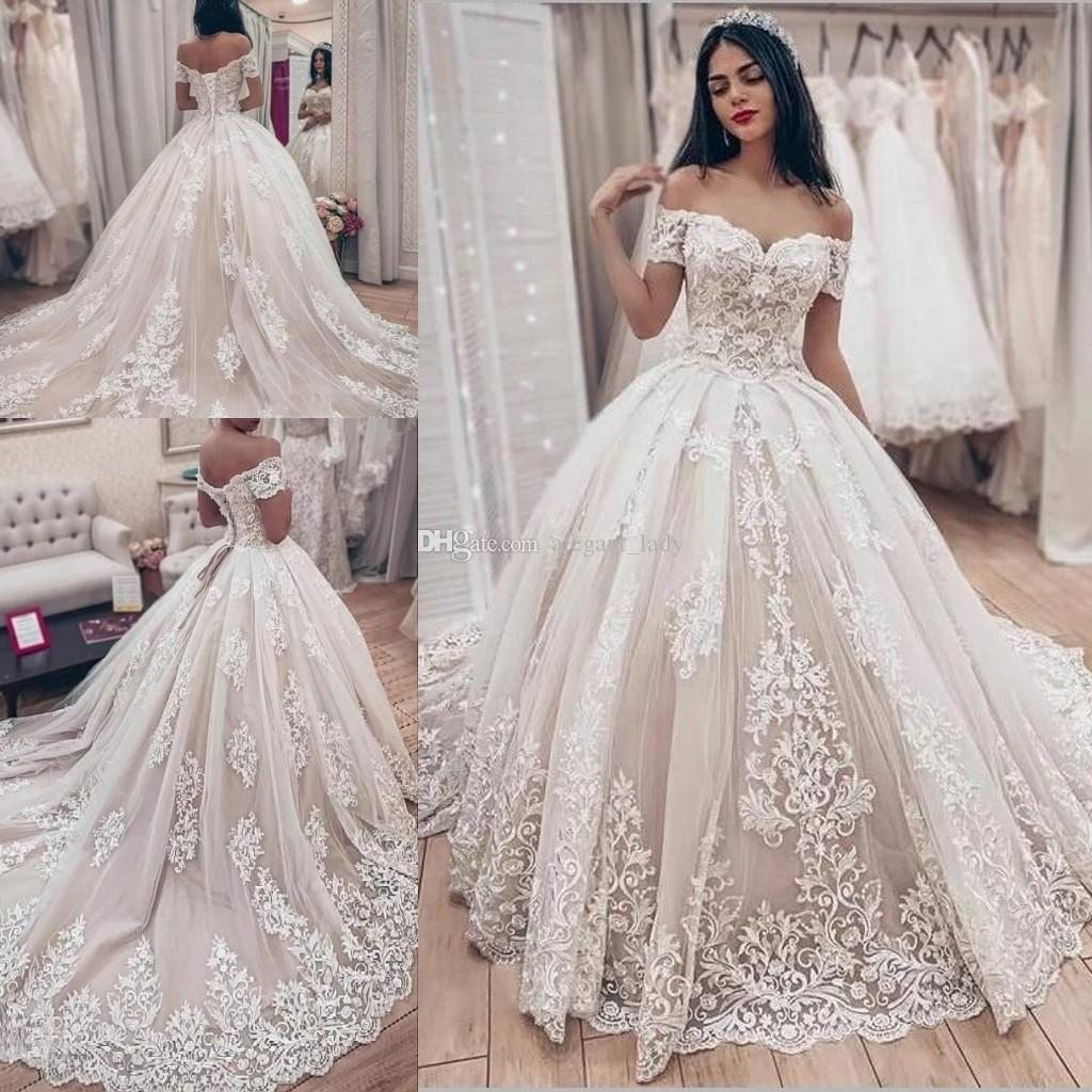 discount lavish lace wedding ball gown dress with off the shoulder sleeves  vintage lace up corset princess gothic bride wedding gown plus size short