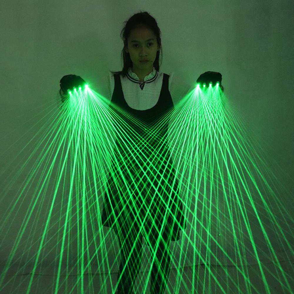 2 in 1 Guanti Multi-linea di laser verde con 4 pezzi 532nm 80mW laser della fase del LED guanti per i costumi luminosi LED Show