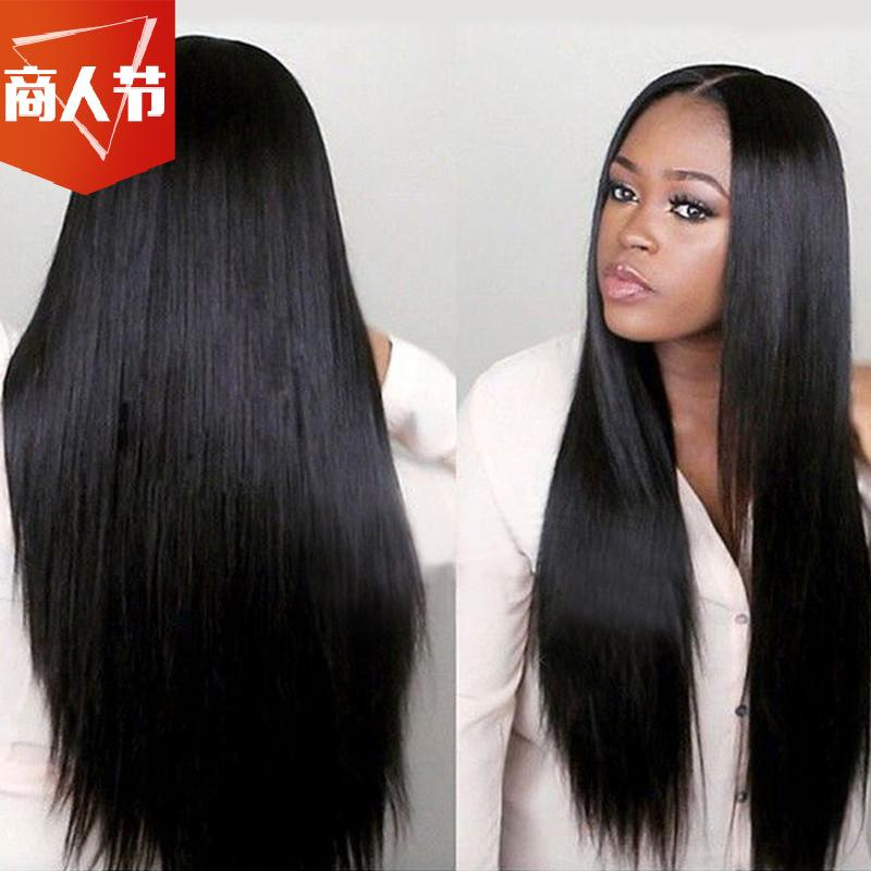 Middle-length straight-haired African wig long-haired headset wigs
