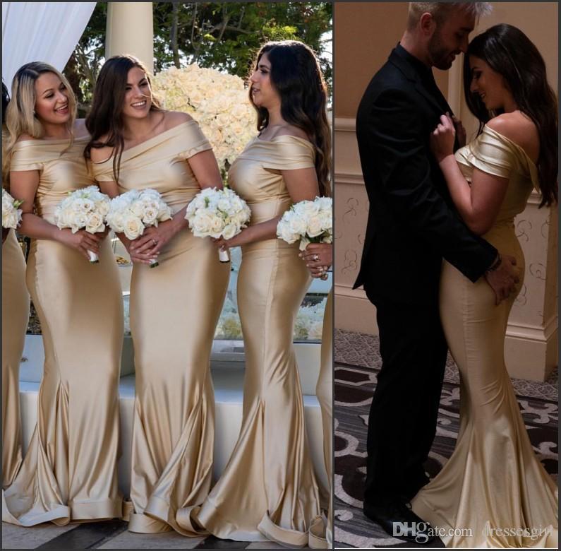 Abiti da damigella d'onore elegante spalla personalizzata personalizzata Maid Of Honor Plus abiti lunghi speciali occasione 2019