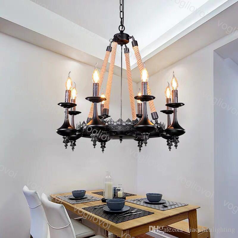 Lâmpadas pendentes vintage industrial lustres e14 vela 6heads para café bar clube hotel decoração cânhamo corda dhl